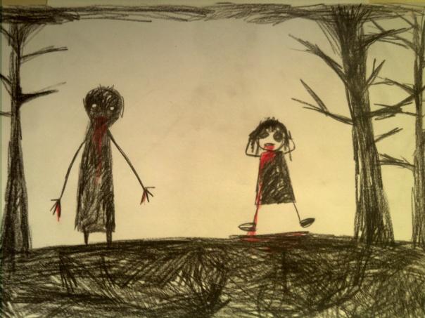 Schattenmann im Wald mit Kind